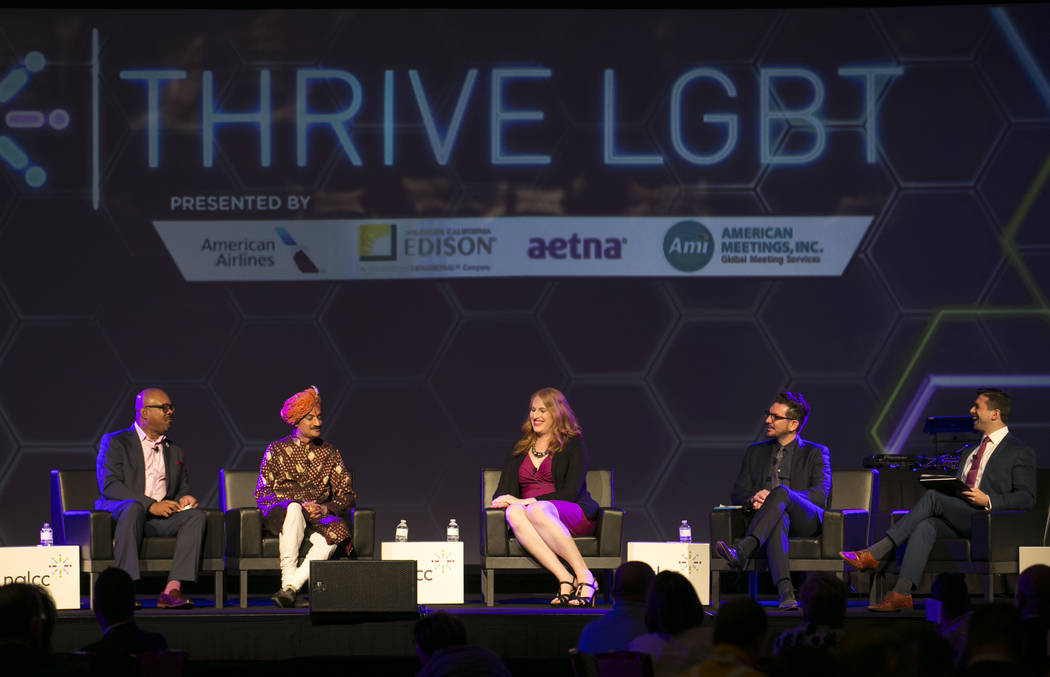 Earl Fowlkes, from left, Prince Manvendra Singh Gohil, Ashley Brundage, Lucas Grindley and Jonathan Lovitz during a panel at the NGLCC International Business and Leadership Conference at Caesars P ...