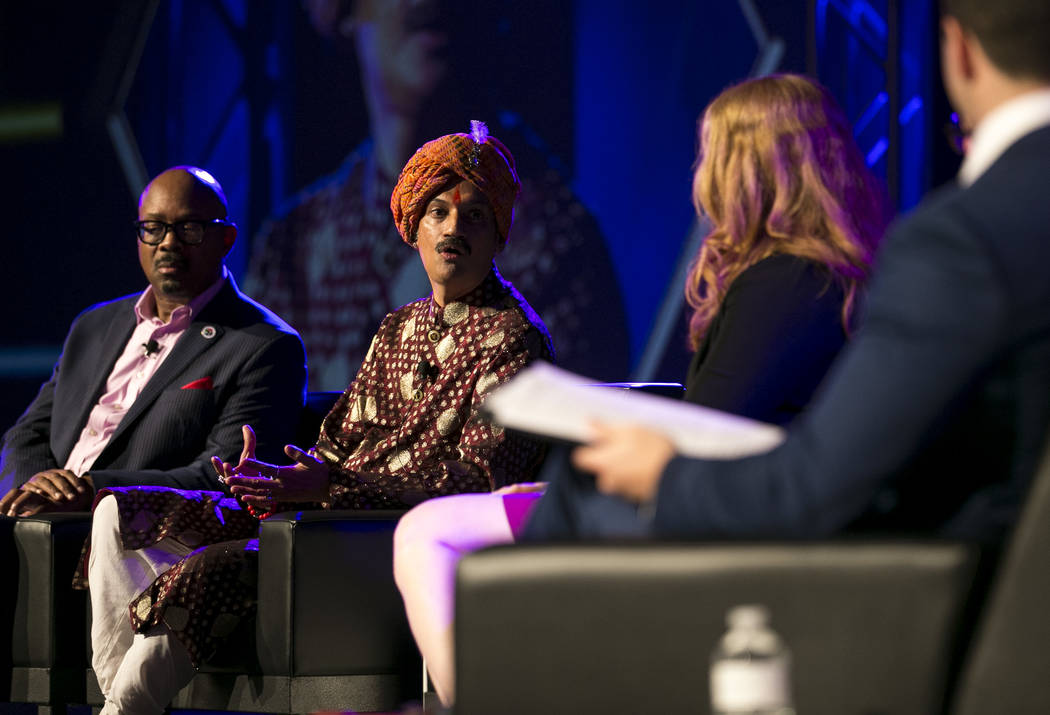 Earl Fowlkes, from left, Prince Manvendra Singh Gohil, Ashley Brundage and Jonathan Lovitz on stage during a panel at the NGLCC International Business and Leadership Conference at Caesars Palace,  ...