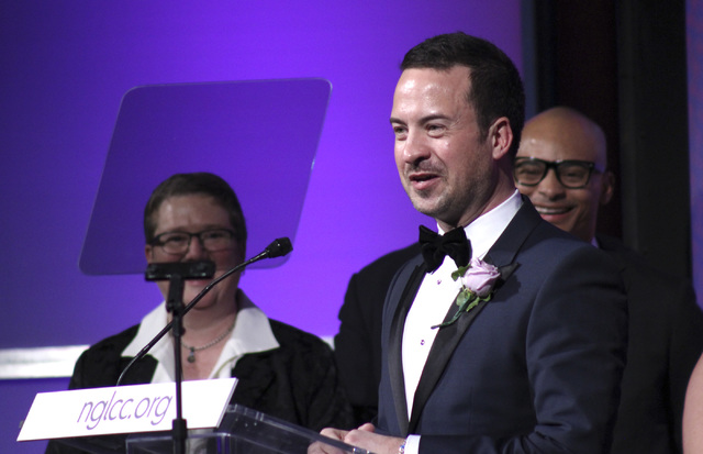 Chance Mitchell speaks at the annual awards dinner for the National Gay and Lesbian Chamber of Commerce in Washington, D.C., in 2014. Mitchell is a co-founder of the chamber and serves as the grou ...