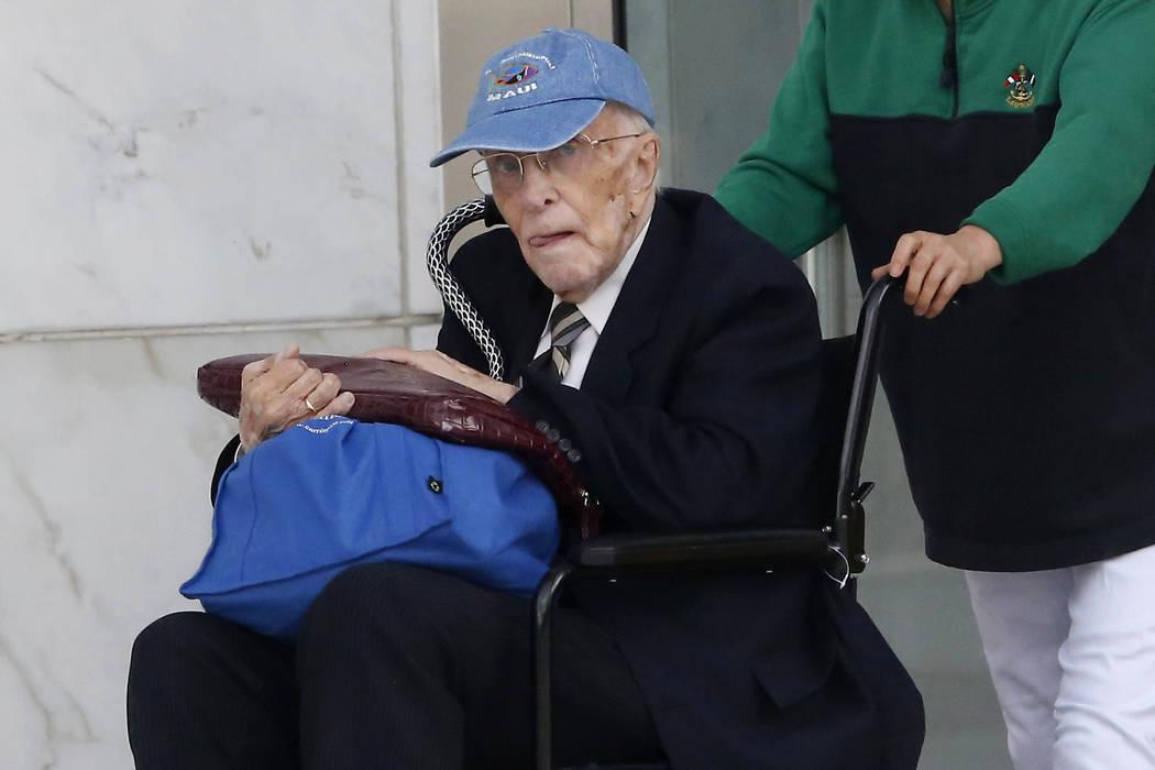 Dr. Henri Wetselaar, 93, is wheeled out of the Lloyd George U.S. Courthouse on March 21, 2017, in Las Vegas. (Christian K. Lee/Las Vegas Review-Journal) @chrisklee_jpeg