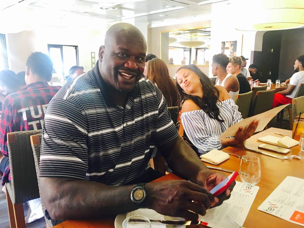 Ex-NBA great Shaquille O'Neal is shown at Hexx Kitchen + Bar at