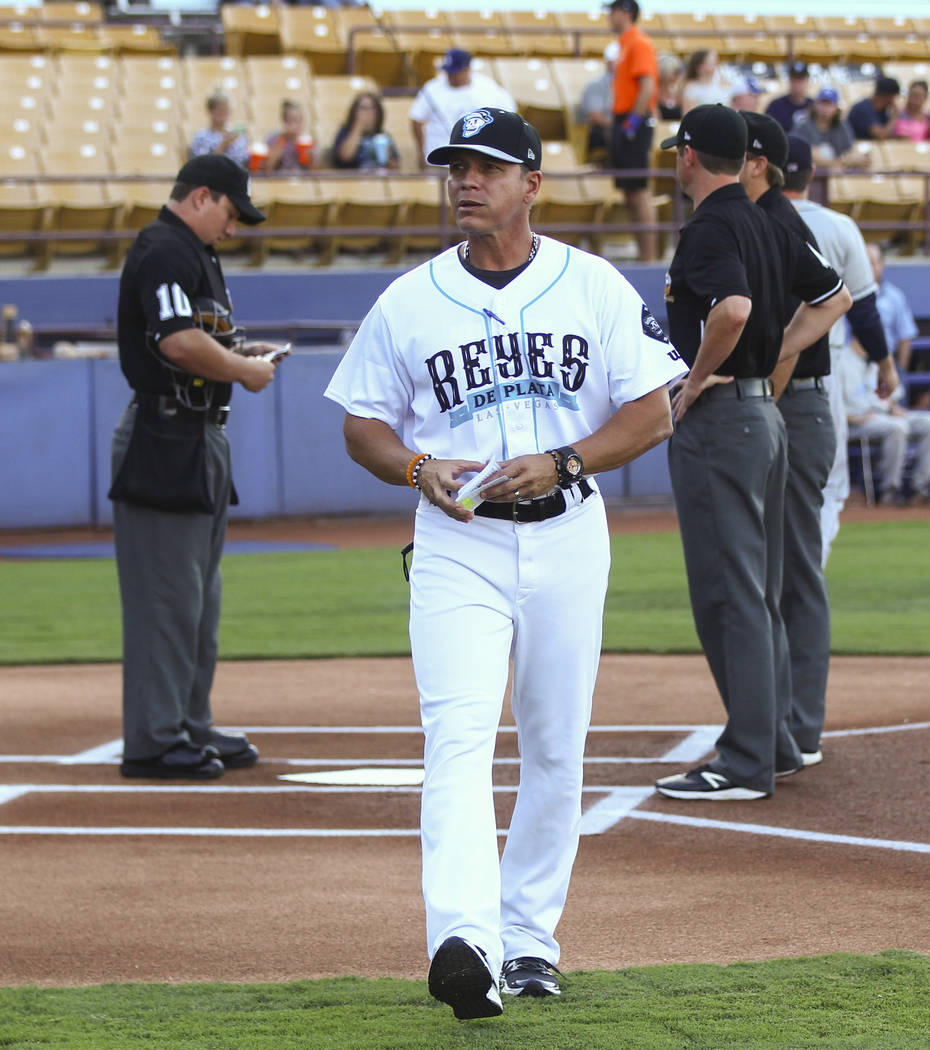 "Las Vegas 51s manager Pedro Lopez during the debut of the ""Reyes de Plata"" (Silver Kings), part of a new Minor League Baseball initiative, before taking on the Colorado Springs S ..."