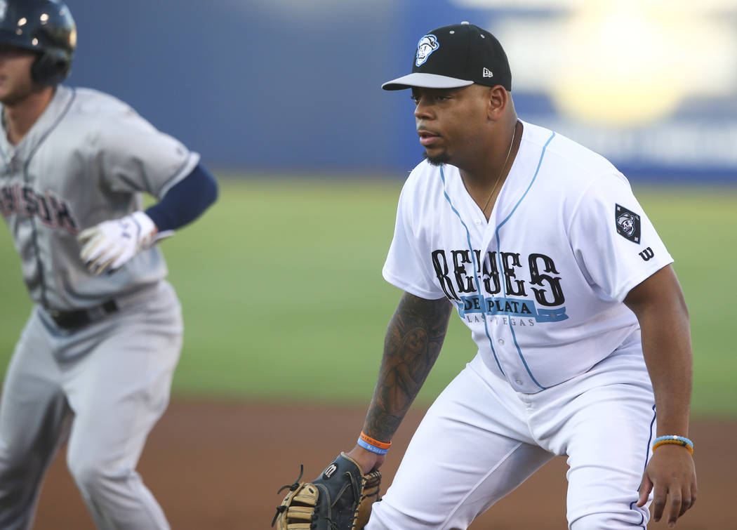 "Las Vegas 51s' Dominic Smith during the debut of the ""Reyes de Plata"" (Silver Kings), part of a new Minor League Baseball initiative, while playing the Colorado Springs Sky Sox a ..."