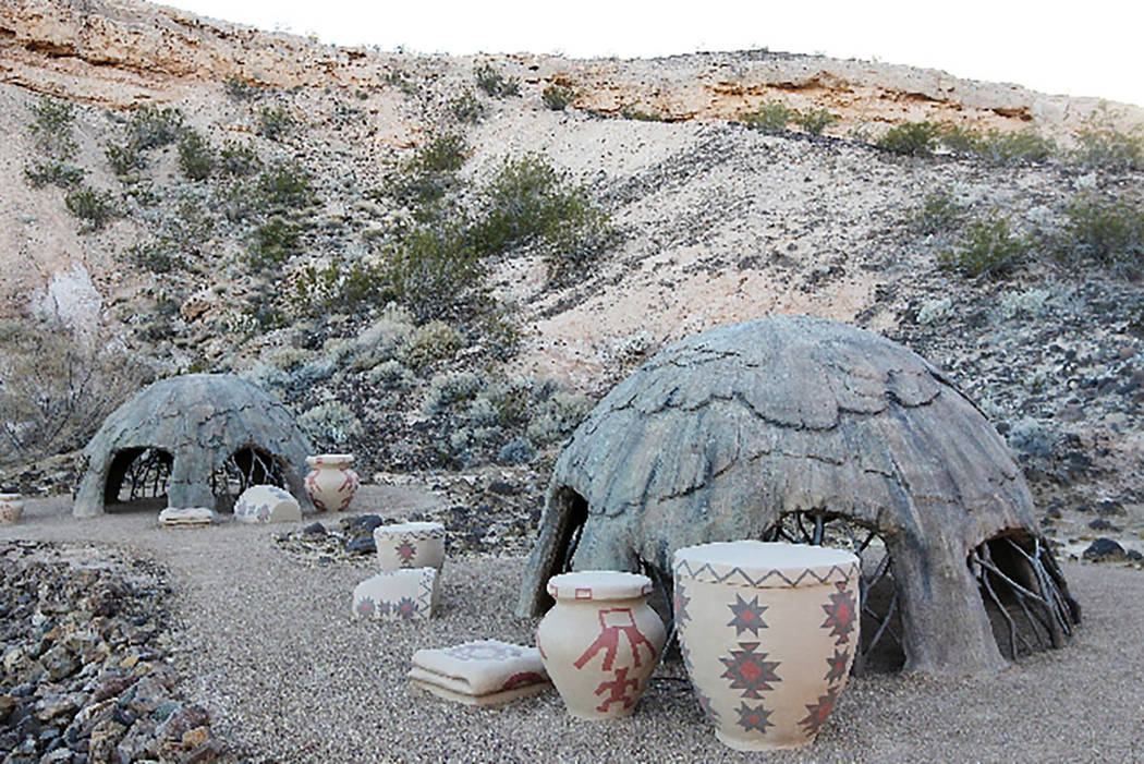 """A pair of """"wickiups,"""" modeled after Native American shelters, are seen at the Whitney Mesa Recreation Area in an undated photo. (Las Vegas Review-Journal)"""