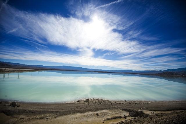 A lithium brining pond near  Silver Peak, Nev. is seen on Friday, Nov. 21, 2015.  (Jeff Scheid/Las Vegas Review-Journal) @jlscheid