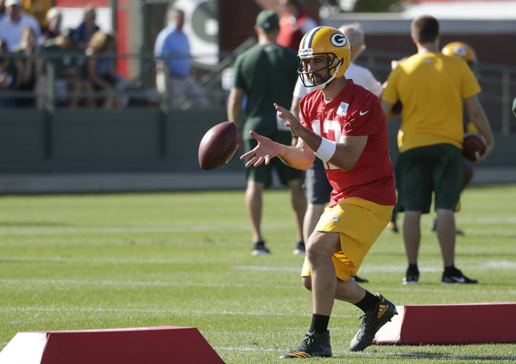 Green Bay Packers' Aaron Rodgers during NFL football training camp Thursday, July 27, 2017, in Green Bay, Wis. (AP Photo/Morry Gash)