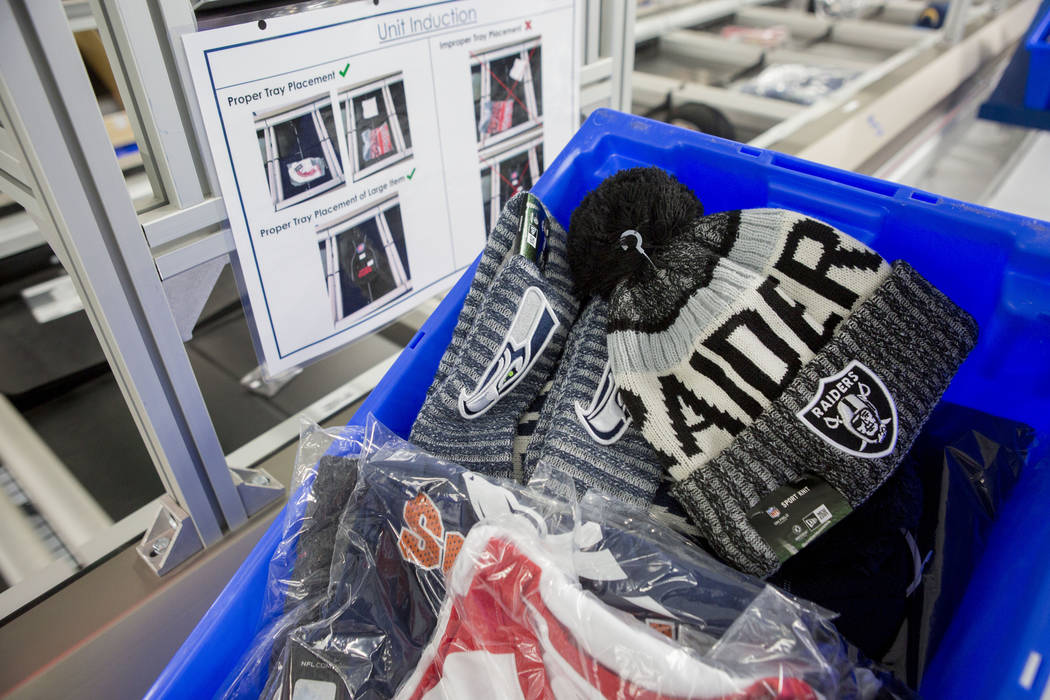 Printed athletic logo apparel ready to be packaged and shipped at the Fanatics distribution center in North Las Vegas, Wednesday, Aug. 16, 2017. (Elizabeth Brumley/Las Vegas Review-Journal)