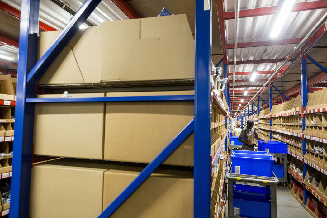 Warehouse employees at the Fanatics distribution center in North Las Vegas, Wednesday, Aug. 16, 2017. Elizabeth Brumley Las Vegas Review-Journal
