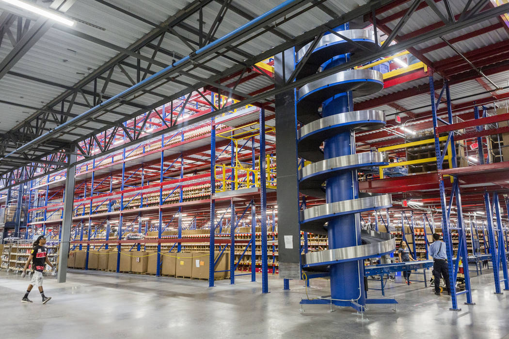 Warehouse employees at the Fanatics distribution center in North Las Vegas, Wednesday, Aug. 16, 2017. (Elizabeth Brumley/Las Vegas Review-Journal)