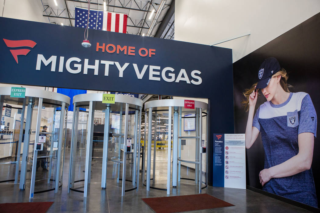 The main entrance of the Fanatics distribution center in North Las Vegas, Wednesday, Aug. 16, 2017. (Elizabeth Brumley/Las Vegas Review-Journal)