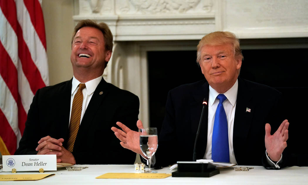 Senator Dean Heller (R-NV) reacts as U.S. President Donald Trump speaks during a lunch meeting with Senate Republicans to discuss healthcare at the White House in Washington, U.S., July 19, 2017.  ...