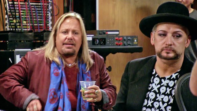 "Vince Neil and Boy George are compete on Season 8 of NBC's ""The New Celebrity Apprentice."" (NBC)"