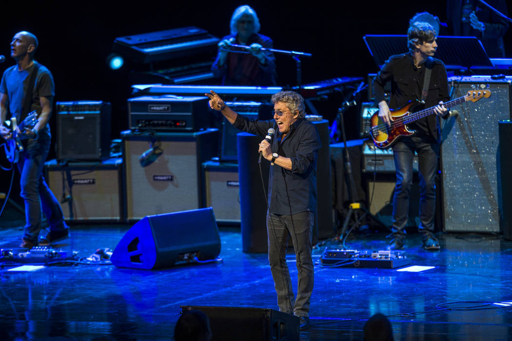 "Roger Daltrey of The Who makes his first appearance on stage while performing ""I Can't Explain"" at the Colosseum at Caesars Palace on Saturday, July 29, 2017.  Patrick Connolly L ..."
