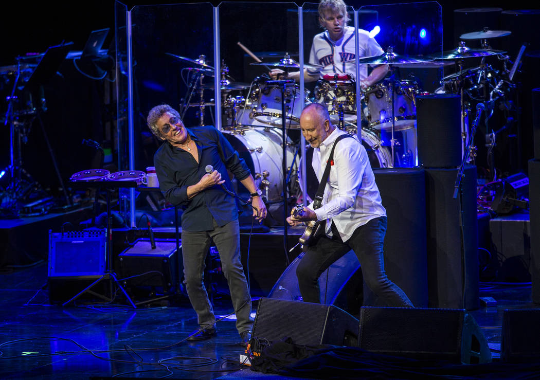 Roger Daltrey and guitarist Pete Townshend share a moment while The Who performs at the Colosseum at Caesars Palace on Saturday, July 29, 2017.  Patrick Connolly Las Vegas Review-Journal @PConnPie