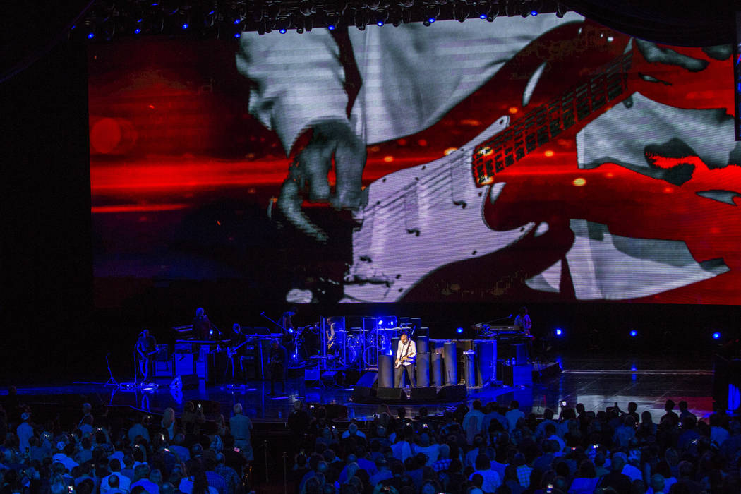 Pete Townshend of The Who takes a guitar solo at the Colosseum at Caesars Palace on Saturday, July 29, 2017.  Patrick Connolly Las Vegas Review-Journal @PConnPie