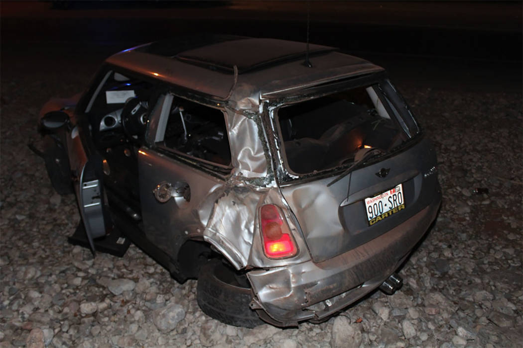 A 44-year-old Las Vegas man died in a rollover crash on Summerlin Parkway near the Rampart offramp on Friday, July 28, 2017. (Nevada Highway Patrol)