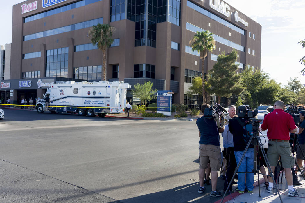 Clark County Sheriff Joseph Lombardo holds a media briefing at the University Medical Center for an officer-involved shooting which an officer was injured, Tuesday, August 1, 2017.  Elizabeth Brum ...