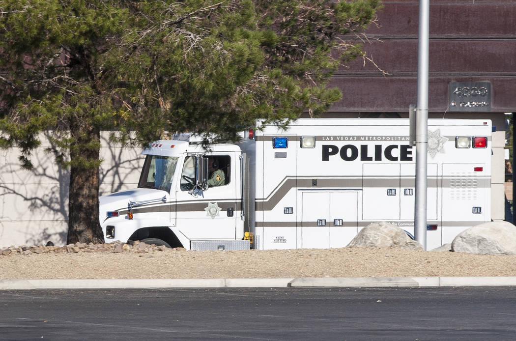 A police truck speeds down Arville Street after an officer-involved shooting in which an officer was injured on Tuesday, August 1, 2017.  Patrick Connolly Las Vegas Review-Journal @PConnPie