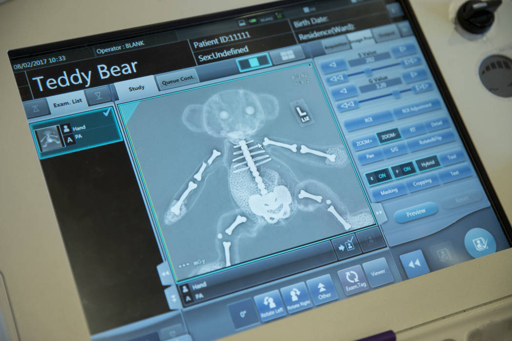 A digital x-ray image of a stuffed animal during a Teddy Bear Clinic at Centennial Hills Hospital in Las Vegas on Wednesday, Aug. 2, 2017. Erik Verduzco Las Vegas Review-Journal @Erik_Verduzco