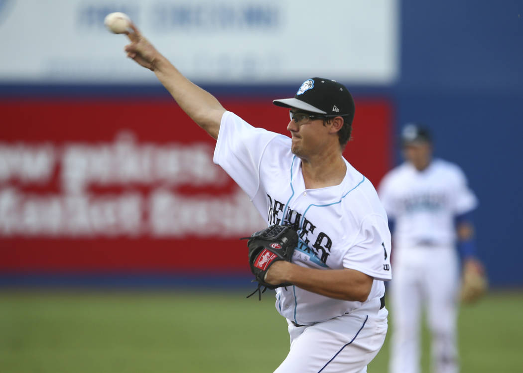 """Las Vegas 51s' Ricky Knapp pitches to the Colorado Springs Sky Sox during the debut of """"Reyes de Plata"""" (Silver Kings) at Cashman Field in Las Vegas on Tuesday, Aug. 1, 2017. As part of the market ..."""