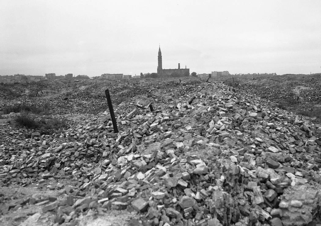 File-This file photo from 1945 shows the remains of the Warsaw ghetto, which the German SS dynamited to the ground. A Polish ruling party official said Wednesday that Poland is considering demandi ...