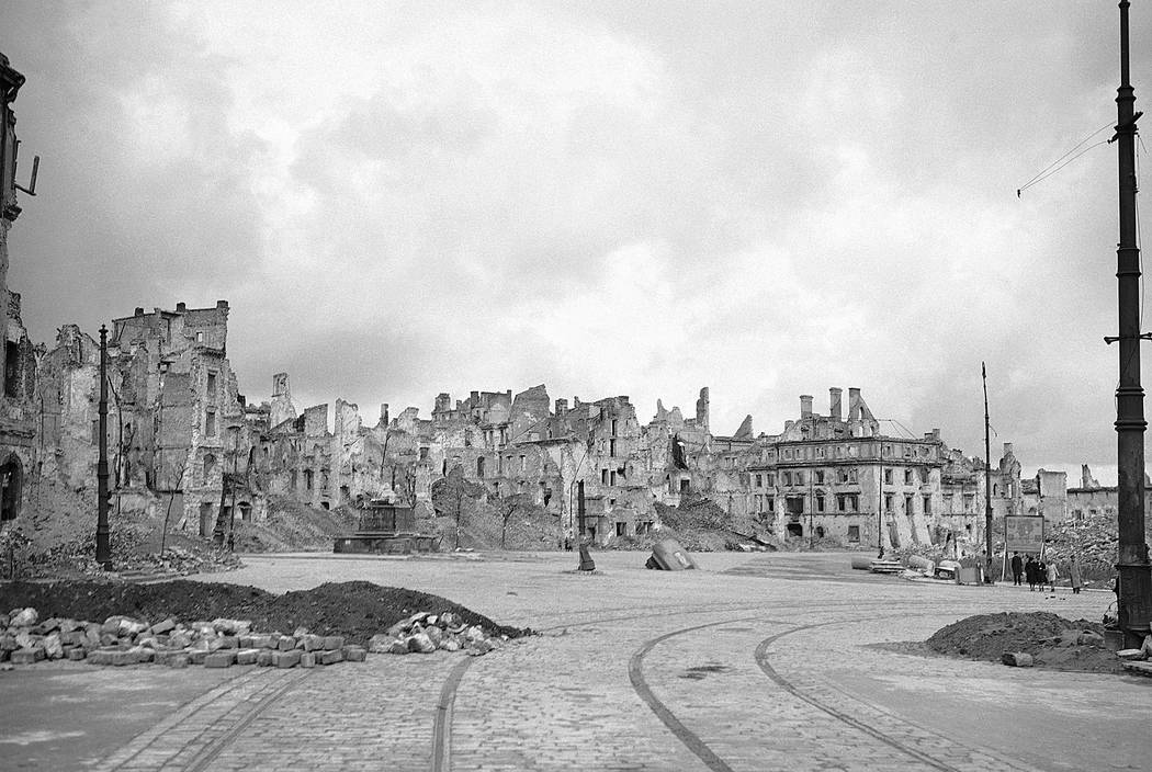 This file photo from Oct. 1, 1945, shows Warsaw after the destruction inflicted by Germany during World War II. A Polish ruling party official said Wednesday that Poland is considering demanding r ...