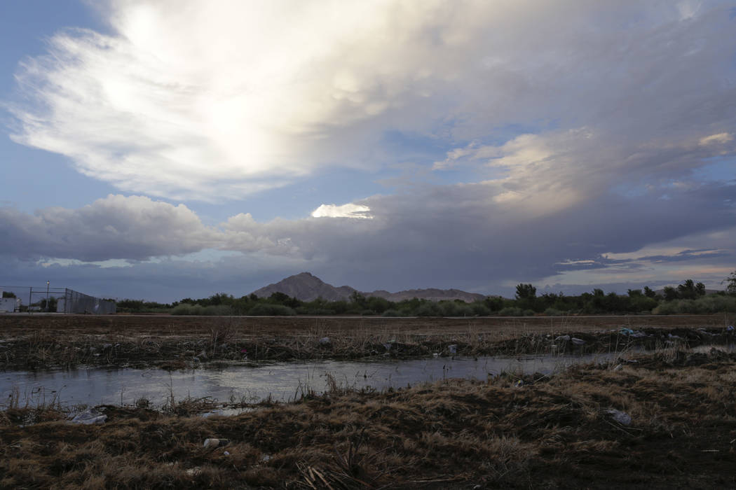 A storm rolls in over Clark County Wetlands Park in Las Vegas, Wednesday, Aug. 2, 2017. Gabriella Angotti-Jones Las Vegas Review-Journal @gabriellaangojo