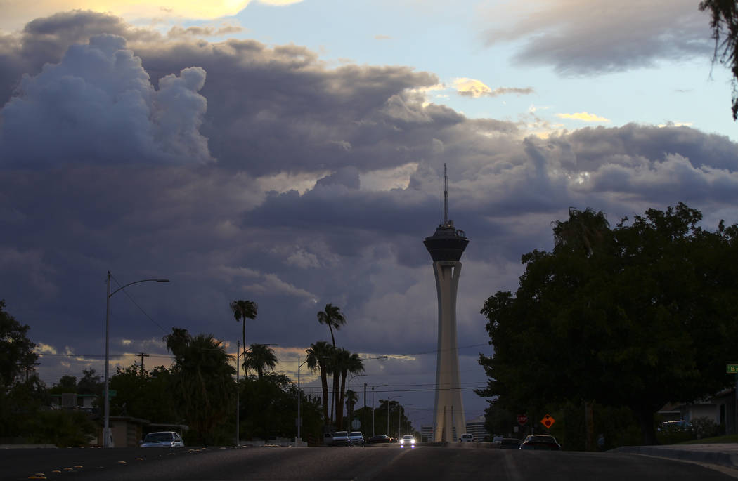 Clouds surround the Stratosphere  in Las Vegas on Wednesday, Aug. 2, 2017. Chase Stevens Las Vegas Review-Journal @csstevensphoto