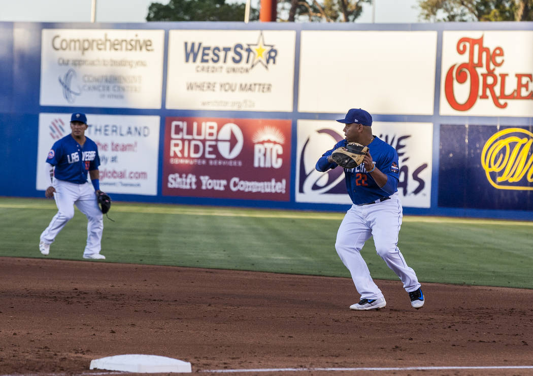Dominic Smith catches the ball for an out during Las Vegas 51s game against the Sacramento River Cats at Cashman Field on Friday, June 16, 2017. The River Cats won 6-4.  Patrick Connolly Las Vegas ...