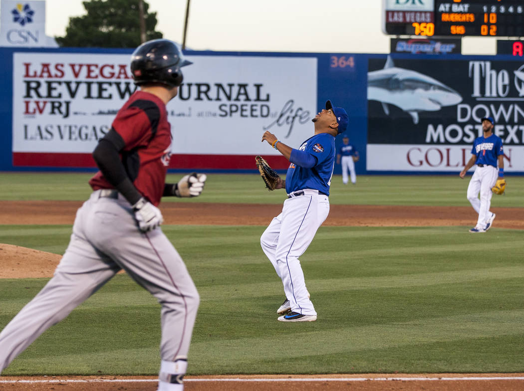 Dominic Smith looks to catch a pop fly during Las Vegas 51s game against the Sacramento River Cats at Cashman Field on Friday, June 16, 2017. The River Cats won 6-4.  Patrick Connolly Las Vegas Re ...