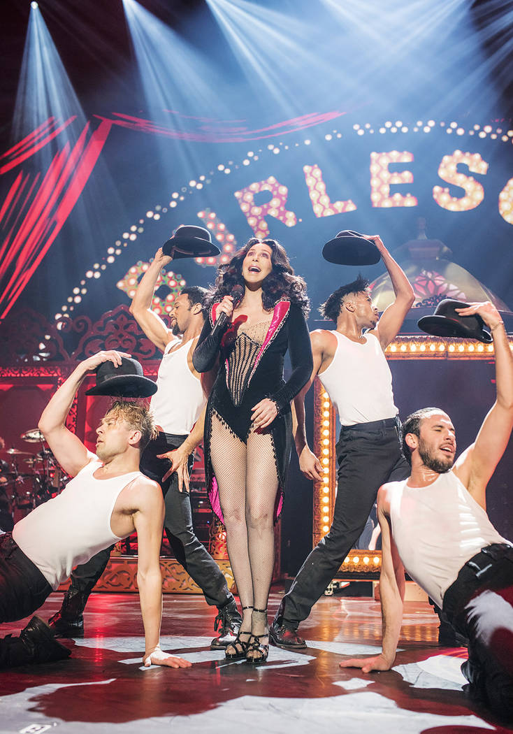 "A ""Burlesque"" segment pays tribute to the 2010 movie in Cher's new Park Theater revue. (Andrew Macpherson)"