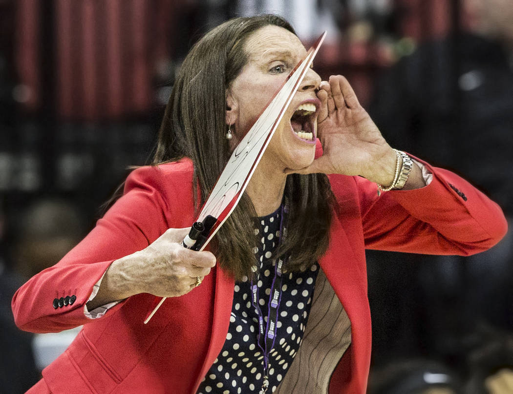 UNLV head coach Kathy Olivier makes a defensive call  during the second round of the Mountain West tournament on Tuesday, March 7, 2017, at Thomas & Mack Center, in Las Vegas.  (Benjamin Hager ...