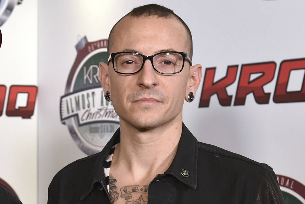 Chester Bennington poses in the press room at the 25th annual KROQ Almost Acoustic Christmas in Inglewood, Calif. on Dec. 13, 2014. Warner Bros. Records said the Linkin Park singer's private fun ...