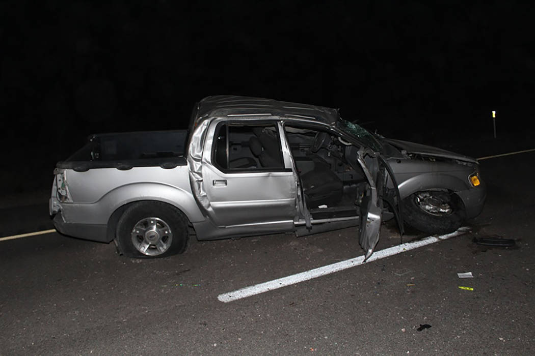 The scene of a fatal accident on U.S. Highway 95 near Searchlight (Nevada Highway Patrol)