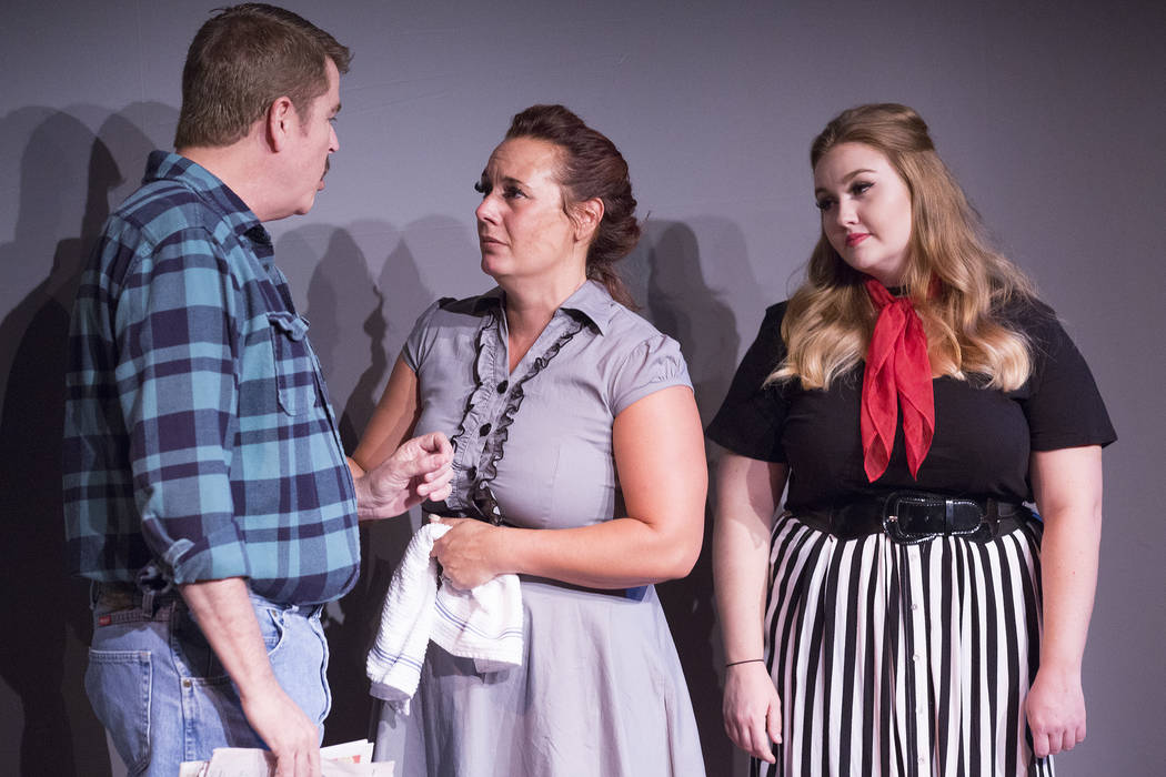 "Brian Scott, left, Kim Glover and Marissa McCoy rehearse ""A View From a Bridge"" at Las Vegas Little Theater on Saturday, Aug. 5, 2017, in Las Vegas. Bridget Bennett Las Vegas Rev ..."