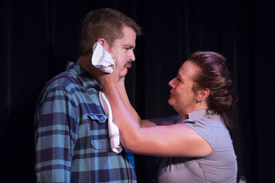 "Brian Scott, left, and Kim Glover rehearse ""A View From a Bridge"" at Las Vegas Little Theater on Saturday, Aug. 5, 2017, in Las Vegas. Bridget Bennett Las Vegas Review-Journal @b ..."