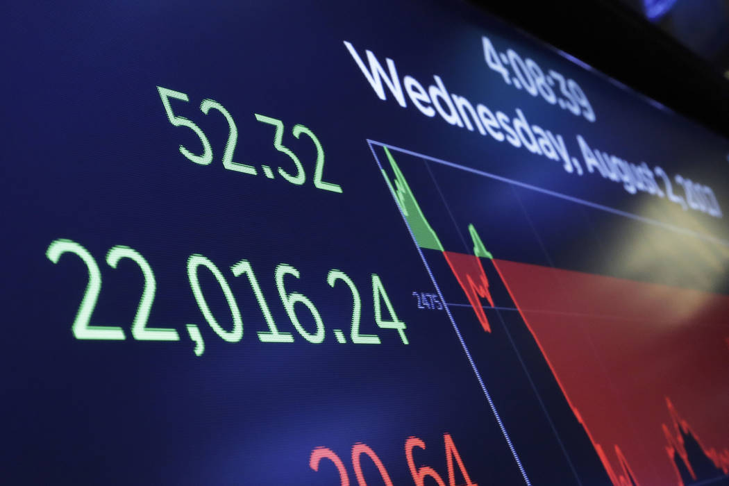 A screen above the floor of the New York Stock Exchange shows the closing number for the Dow Jones industrial average, Wednesday, Aug. 2, 2017. The DJIA closed above 22,000 points for the first ti ...