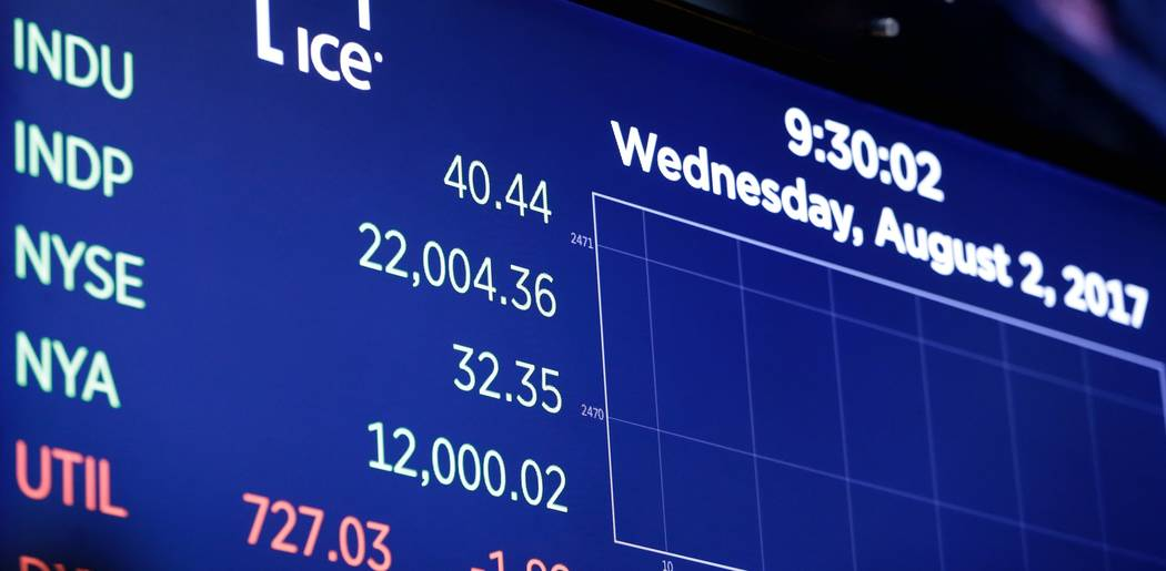 A board above the floor of the New York Stock Exchange shows the Dow Jones industrial average as it moves above 22,000 at the opening bell, Wednesday, Aug. 2, 2017. A big gain from Apple Wednesday ...