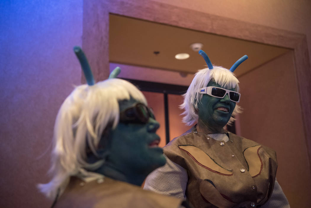 T.K. Agin, left, with her mother, Jodi Agin-Batten, wait in line for a photo op with George Takei at Star Trek Convention at Rio hotel-casino on Saturday, August 5, 2017, in Las Vegas. Morgan Lieb ...