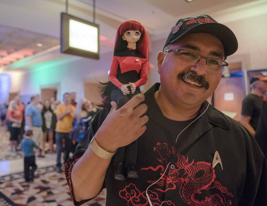 "Arthur ""Sticks"" poses for a portrait with his custom-made Japanese anime doll at Star Trek Convention at Rio hotel-casino on Saturday, August 5, 2017, in Las Vegas. Morgan Lieber ..."