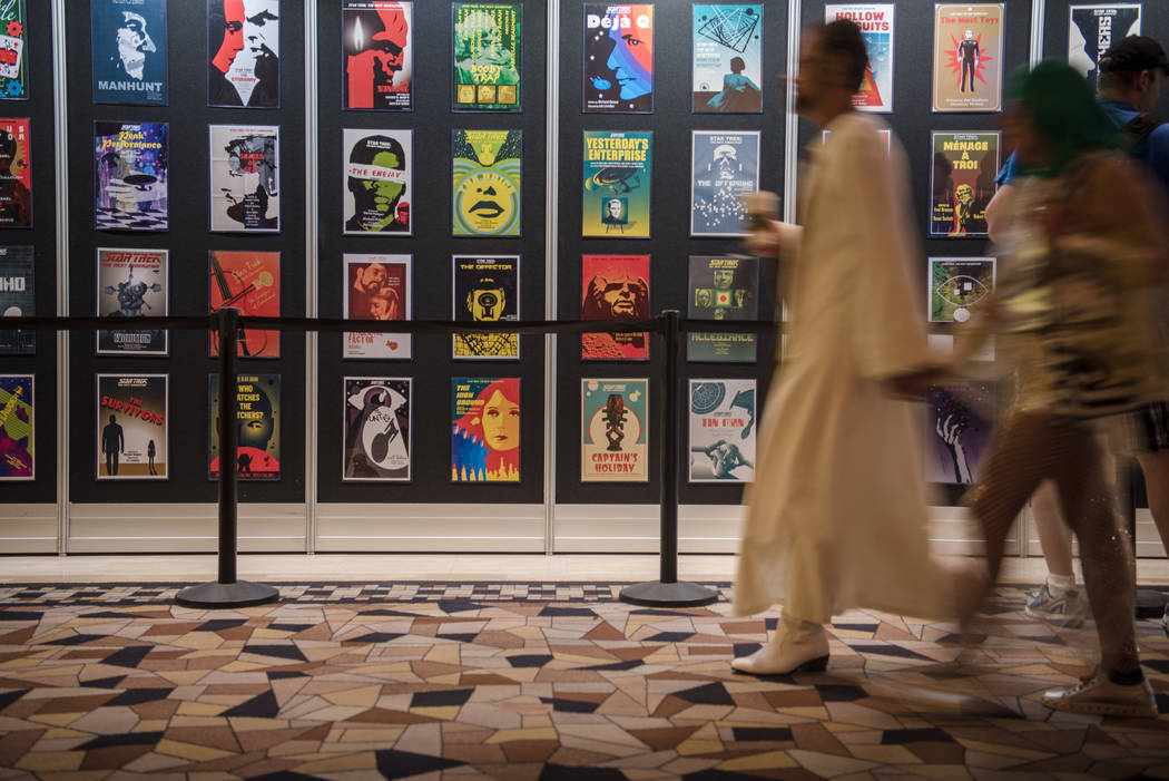 Numerous poster designs line the wall at Star Trek Convention at Rio hotel-casino on Saturday, August 5, 2017, in Las Vegas. Morgan Lieberman Las Vegas Review-Journal
