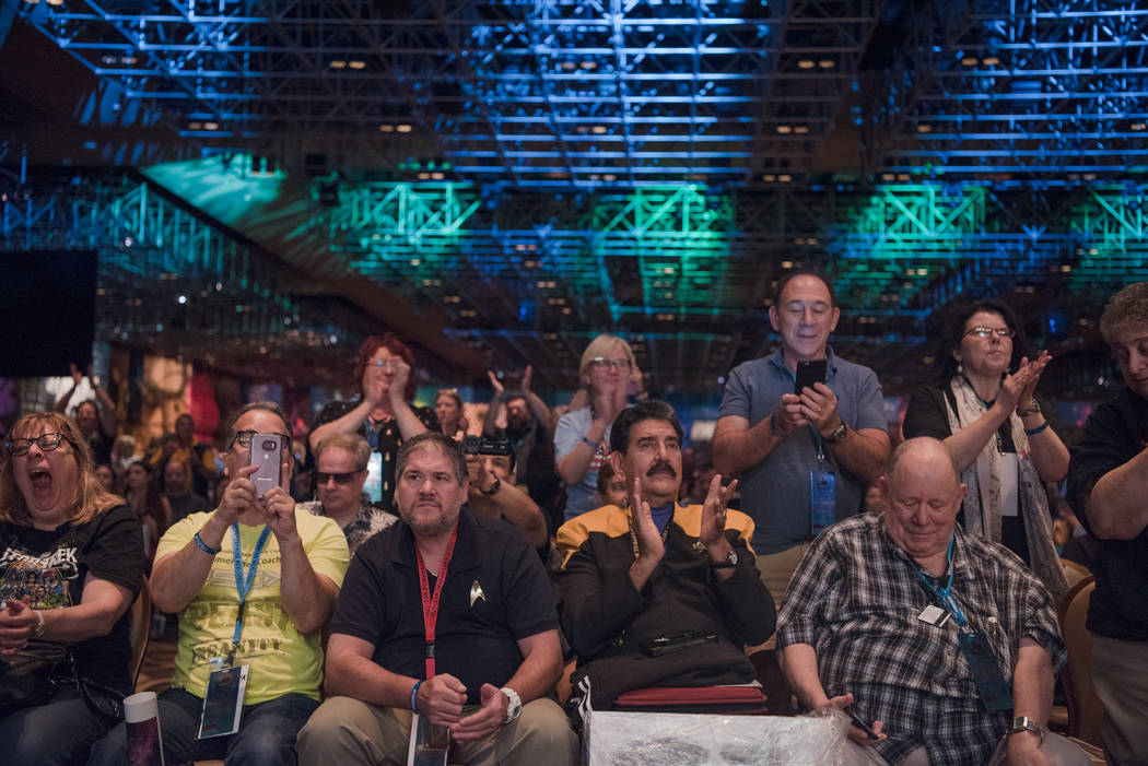 A crowd applauds Kate Mulgrew at Star Trek Convention at Rio hotel-casino on Saturday, August 5, 2017, in Las Vegas. Morgan Lieberman Las Vegas Review-Journal