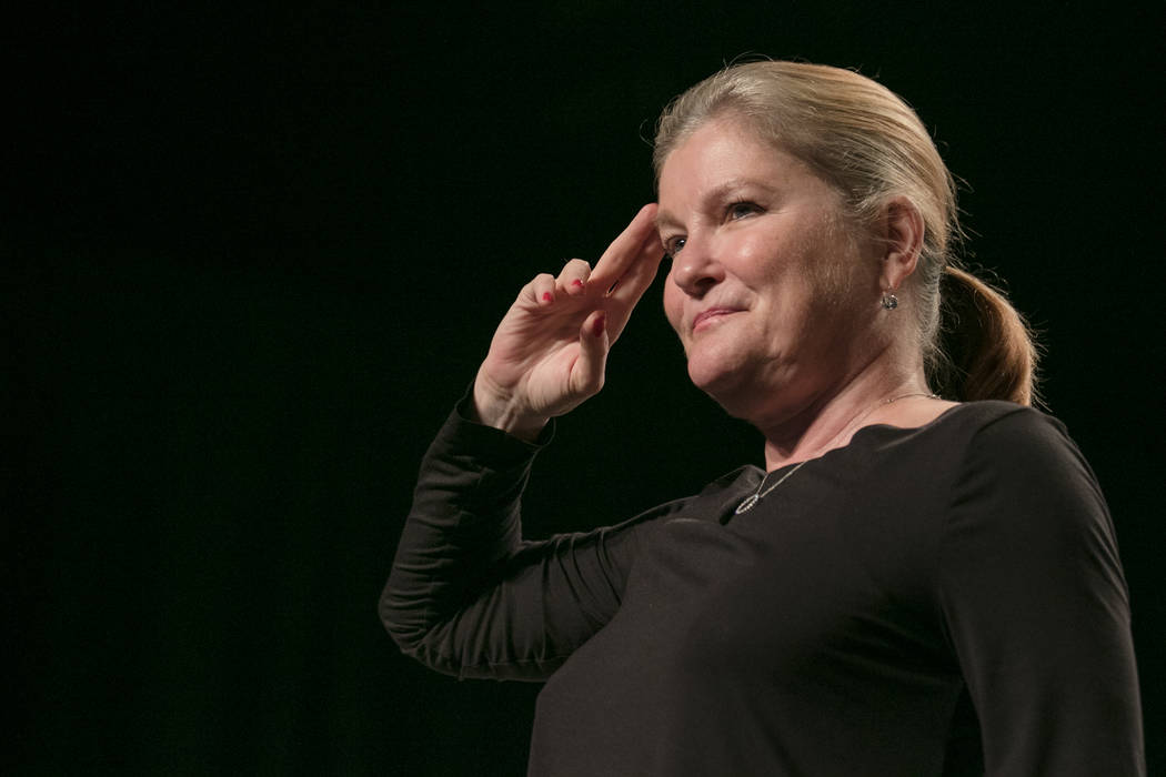 Kate Mulgrew salutes the audience at a Q & A session at Star Trek Convention at Rio hotel-casino on Saturday, August 5, 2017, in Las Vegas. Morgan Lieberman Las Vegas Review-Journal