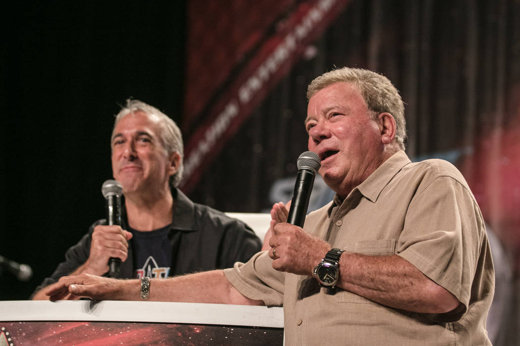 William Shatner speaks with Scott Mantz and the audience at a Q & A session at Star Trek Convention at Rio hotel-casino on Saturday, August 5, 2017, in Las Vegas. Morgan Lieberman Las Vegas Re ...