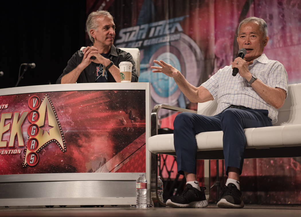 George Takei speaks with Scott Mantz and the audience at a Q & A session at Star Trek Convention at Rio hotel-casino on Saturday, August 5, 2017, in Las Vegas. Morgan Lieberman Las Vegas Revie ...