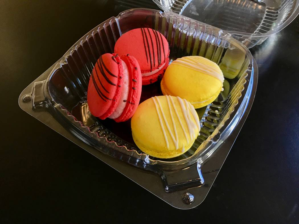 Passion fruit (left) and mango (right) macarons from Alfredo's Patisserie cost $1 a piece. (Madelyn Reese/View) @MadelynGReese