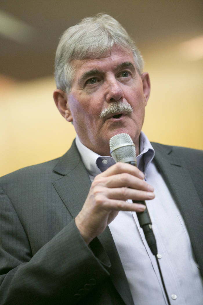 John Wood, Senior Vice President at Mortenson Construction, speaks during a presentation about the Las Vegas Raiders stadium project at the Clark County Government Center in Las Vegas, Wednesday,  ...