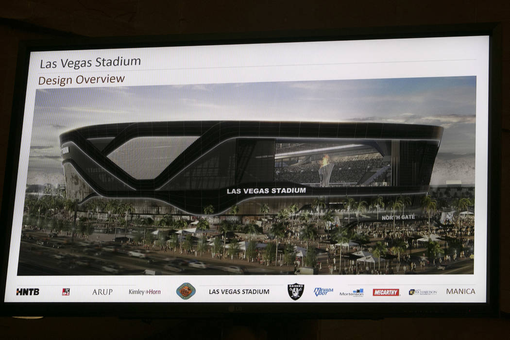 A rendering of the new Raiders stadium during a presentation about the Las Vegas Raiders stadium project in Las Vegas, Wednesday, Aug. 2, 2017. Gabriella Angotti-Jones Las Vegas Review-Journal @ga ...