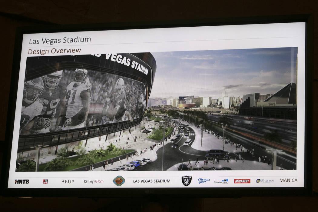A rendering of the new Raiders stadium during a presentation about the Las Vegas Raiders stadium project in Las Vegas, Wednesday, Aug. 2, 2017. Gabriella Angotti-Jones Las Vegas Review-Journal @ga ...