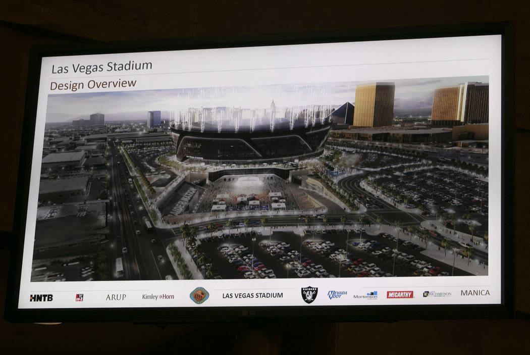 A rendering of the new Raiders stadium during a presentation about the Las Vegas Raiders stadium project at the Clark County Government Center in Las Vegas, Wednesday, Aug. 2, 2017. Gabriella Ango ...